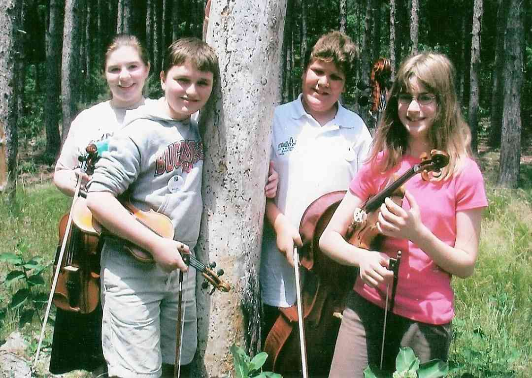 Student string quartet at Blue Lake Suzuki Family Camp