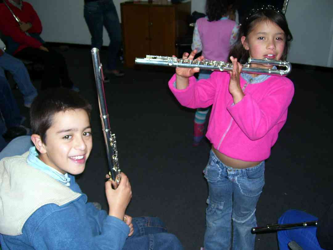 Young flute students at the Bogota Suzuki Festival in June, 2008.