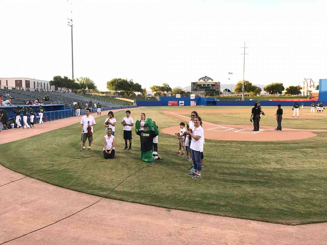 Tagawa's Violin Stars play National Anthem at Baseball Game