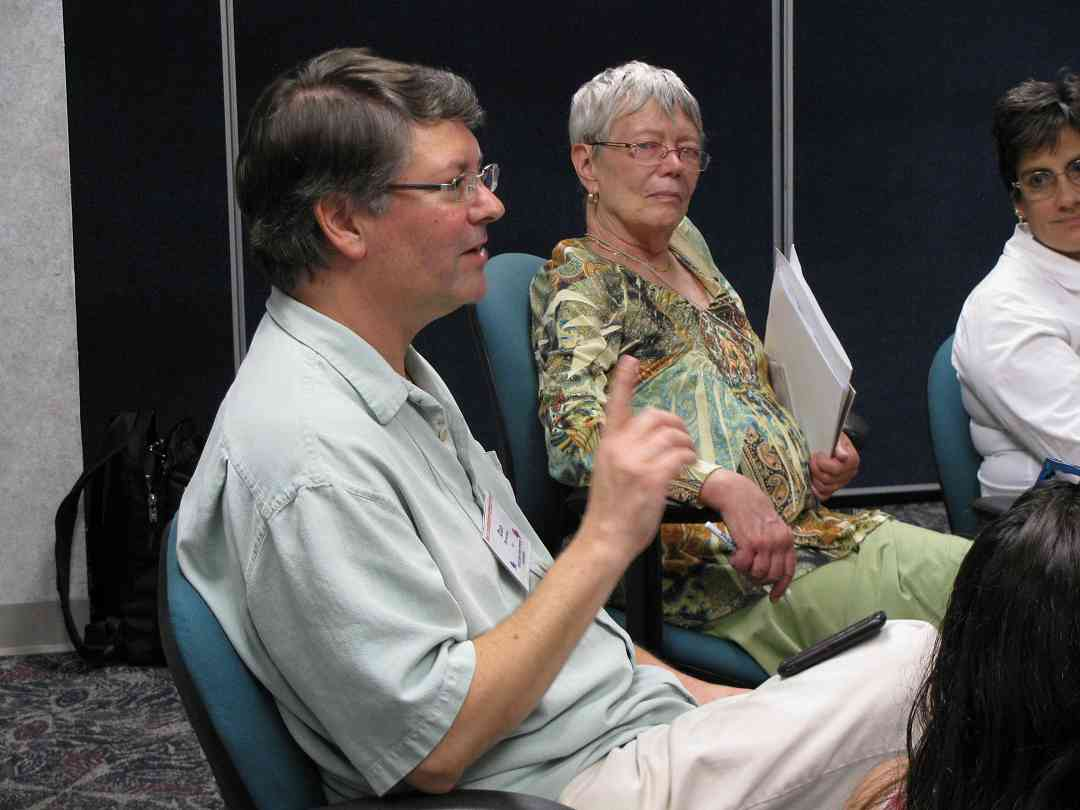 Dan Browning, Daphne Hughes, and Andrea Cannon participate in a discussion at the 2011 Leadership Retreat