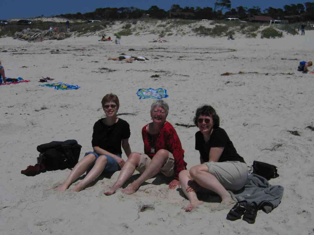 Daphne Hughes and friends on the beach at the 2005 SAA Leadership Retreat