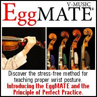 Advertisement: Harmonious Designs featuring the EggMATE practice aid