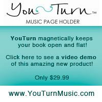 Advertisement: YouTurn magnetically keeps your book open and flat! See a video demo of this amazing new product. Only $29.99.