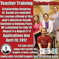 Advertisement: Teacher Training Scholarship Applications for American Suzuki Institute Due April 20