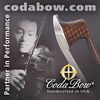 Advertisement: Coda Bow: Partner in Performance. Handcrafted in USA.