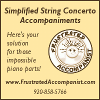 Advertisement: Simplified String Concerto Accompaniments: Here's your solution for those impossible piano parts!