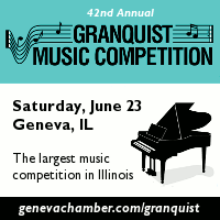 Advertisement: 42nd Annual Granquist Music Competition: Saturday, June 23, Geneva IL. The largest music competition in Illinois.