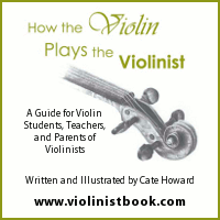 Advertisement: How the Violin Plays the Violinist: A Guide for Violin Students, Teachers, and Parents of Violinists. Written and Illustrated by Cate Howard.