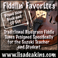 Advertisement: Fiddlin' Favorites: Traditional bluegrass fiddle tunes designed specifically fro the Suzuki teacher and student