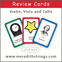 Advertisement: Meredith Strings: Review cards for violin, viola, and cello.