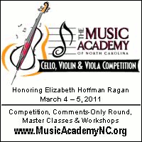 Advertisement: Cello, Violin & Viola Competition at the Music Academy of North Carolina. March 4-5, 2011.