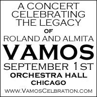 Advertisement: A concert celebrating the legacy of Roland and Almita Vamos, September 1st, Orchestra Hall, Chicago, Illinois
