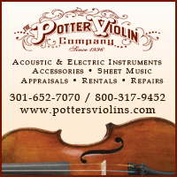 Advertisement: Potter Violin Company: Acoustic & Electric Instruments, Accessories, Sheet Music, Appraisals, Rentals, Repairs.