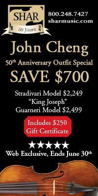 Advertisement: Shar Music: John Cheng 50th Anniversary Outfit Special - Save $700. Ends June 30.
