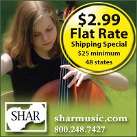 Advertisement: Shar Music: $2.99 Flat Rate Shipping