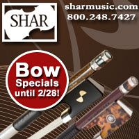 Advertisement: Shar Music: Bow specials until Feb 28!