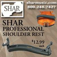 Advertisement: SHAR Professional Shoulder Rest, $12.99 each