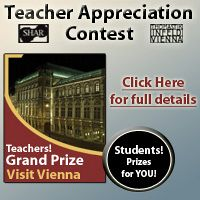 Advertisement: Teacher Appreciation Contest! Grand Prize: Visit Vienna. Sponsored by Shar and Thomastik.