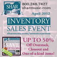 Advertisement: Shar Music: Inventory Sales Event - Up to 50% Off