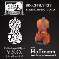 Advertisement: Shar Music: Violin Shaped Object. Hoffmann, Satisfaction Guaranteed.