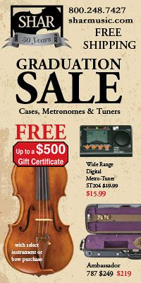 Advertisement: Shar Music: Graduation Sale