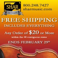 Advertisement: Shar Music: Free Shipping on all orders over $20. Ends February 29.