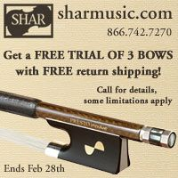 Advertisement: Shar Music: Get a free trial of 3 bows with free return shipping!
