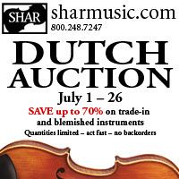 Advertisement: Shar Music: Dutch Auction, save up to 70% on trade-in instruments
