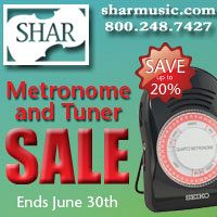 Advertisement: Shar Music: Metronome and tuner sale - ends June 30
