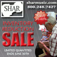 Advertisement: Shar Music: Inventory Reduction Sale. Limited quantities -- ends June 30th.