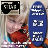 Advertisement: Shar Music: Free shipping over $99. Sting and Sheet Music Sale!