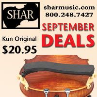 Advertisement: Shar Music: September Deals: Kun Original $20.95