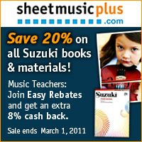 Advertisement: Save 20% on Suzuki books and materials at SheetMusicPlus.com