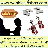 Advertisement: Twinkle Gift Shop: Unique, Suzuki-inspired gifts that won't drain the lesson fund. Free shipping and gift wrapping!
