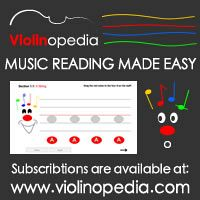 Advertisement: Violinopedia: Music reading made easy. Subscriptions are available at violinopedia.com