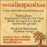 Advertisement: The Walker Family band: Traditional & Old Time Music arranged for mixed instrument groups, Summer Camps, and Weekend Workshops.