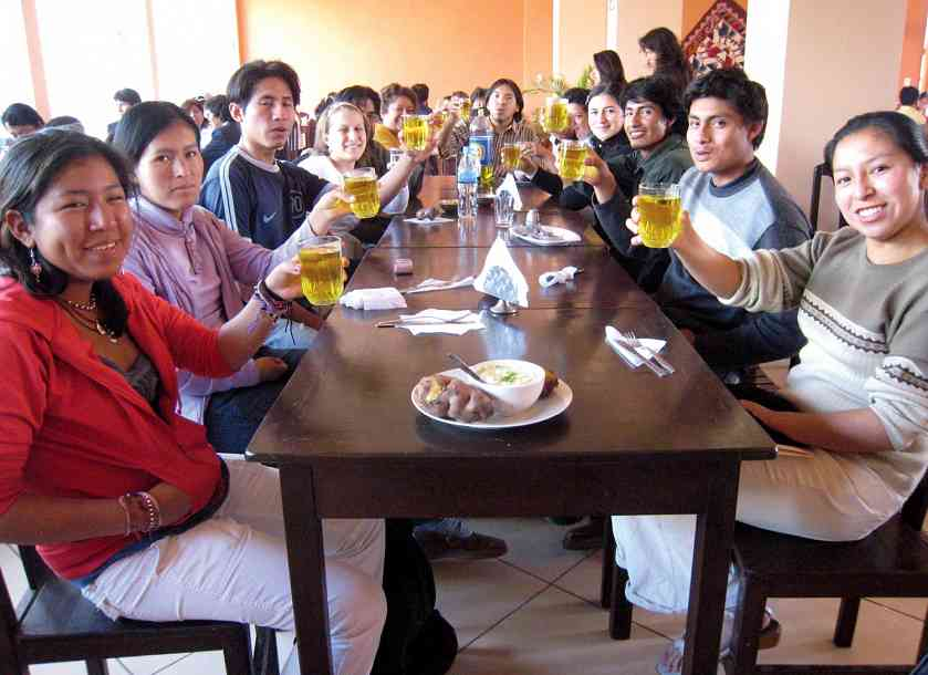 Cheers with Inka Kola at the 2008 Ayacucho National Workshop in Peru