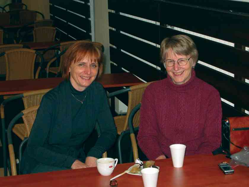 Joan (right) and Eva Guz-Seroka, a piano teacher trainer in Warsaw, having tea at the Chopin University where Eva teaches