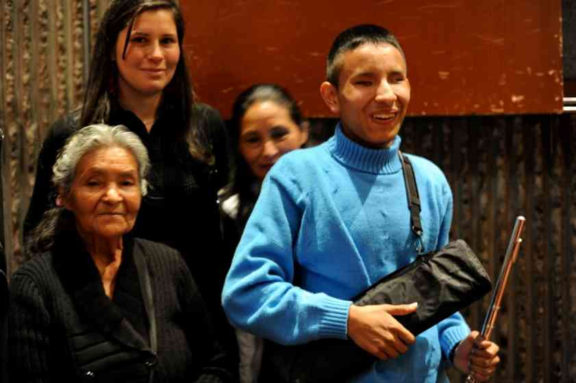 Diana with Nicolas and his grandmother and the new flute