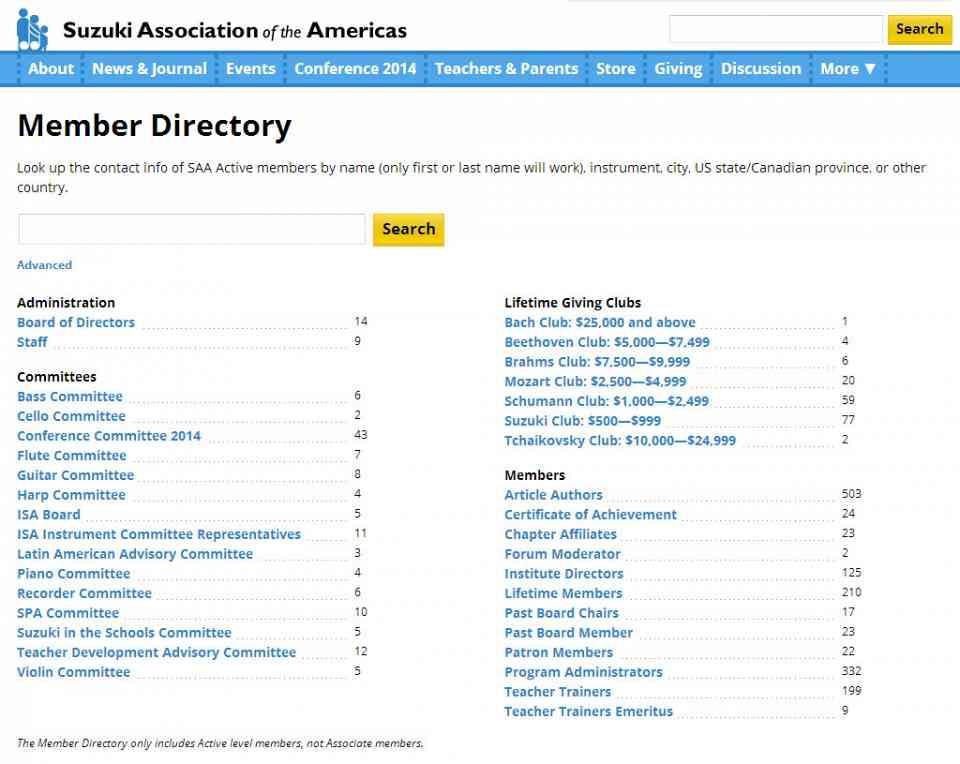 Saa Website Member Directory
