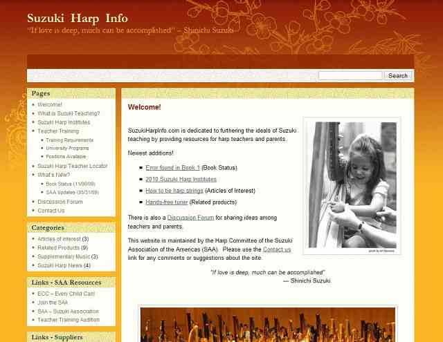 Suzuki Harp Info website