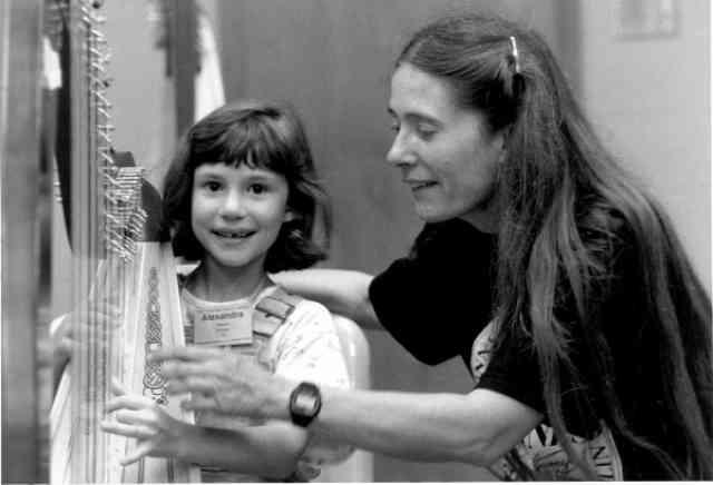 Mary Kay Waddington with harp student