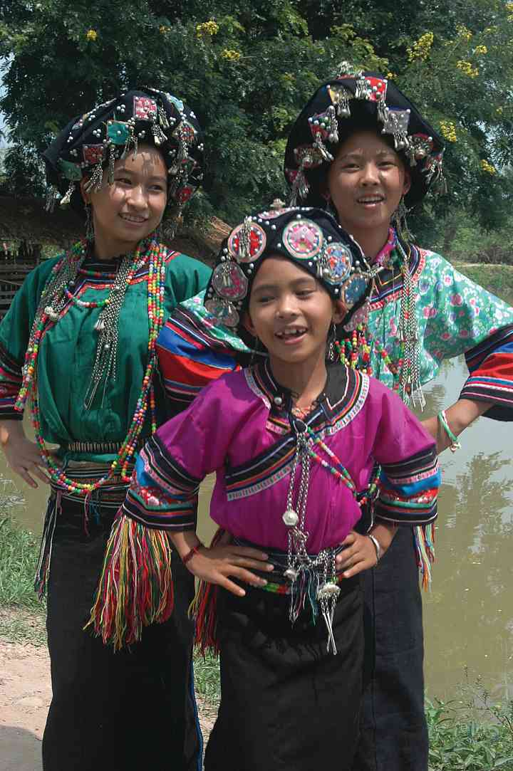 Lollopho girls dancing, New Year Festival, Muang Sing, Lao, 2006
