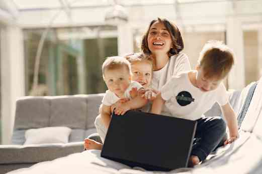 Kids and Mother on Laptop