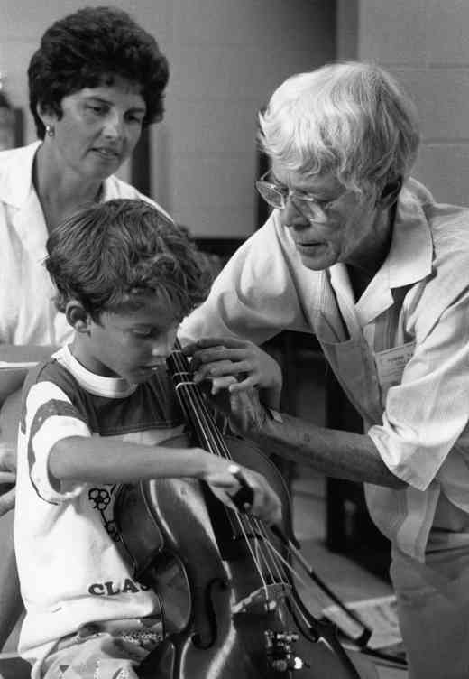 Yvonne Tait in a cello lesson