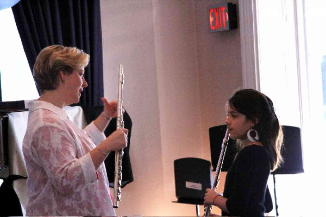 Flute student and teacher
