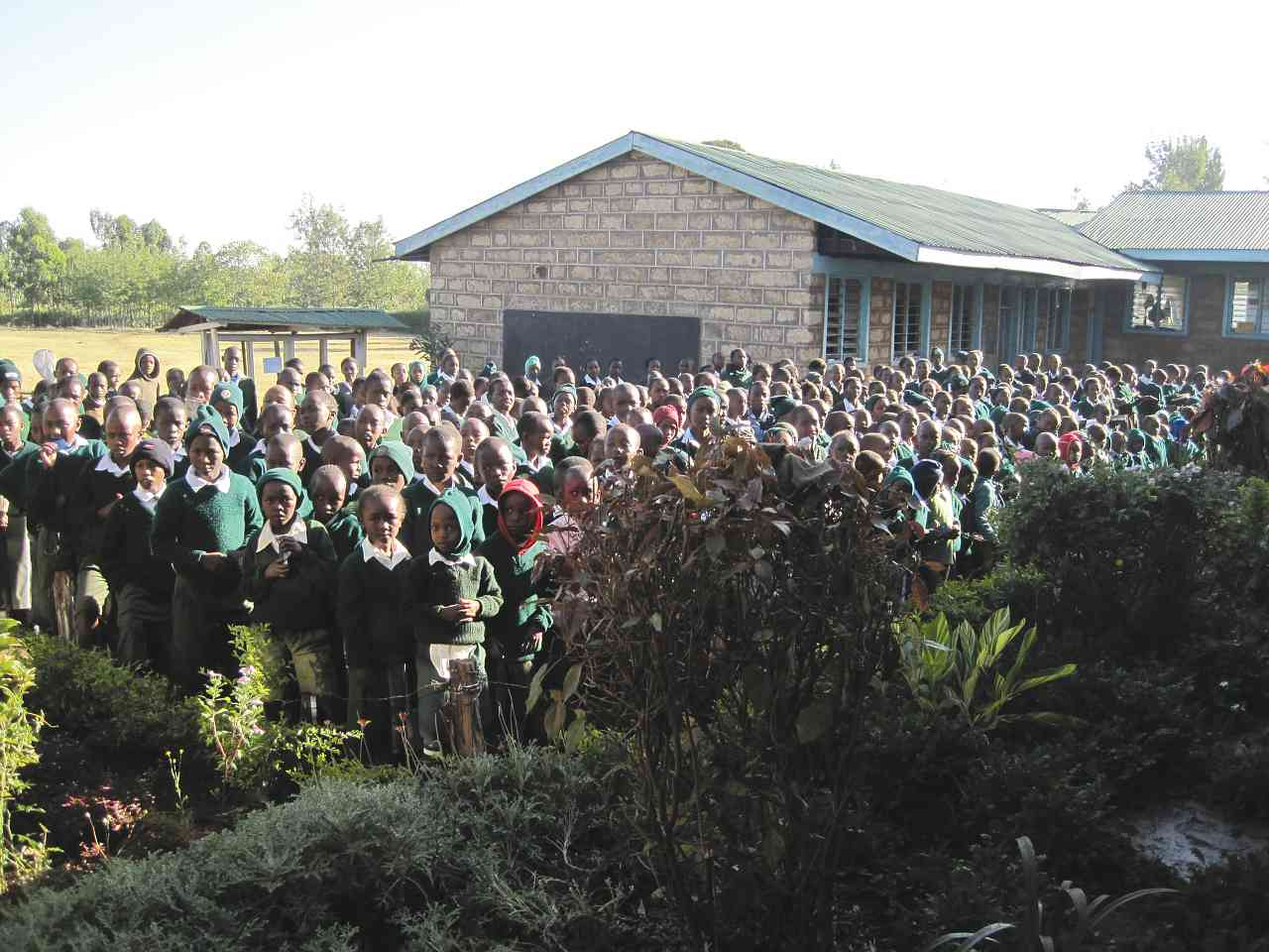 BIPS students gather outside for their morning devotions