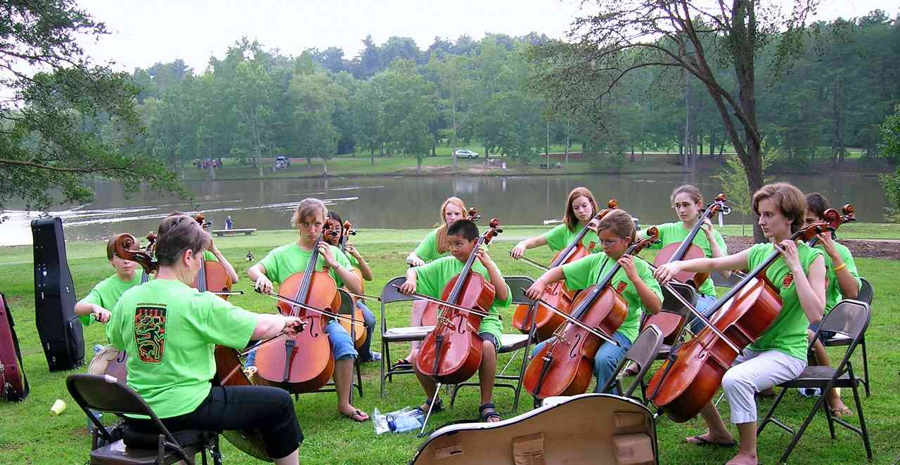 Cello group class at South Carolina Suzuki Institute